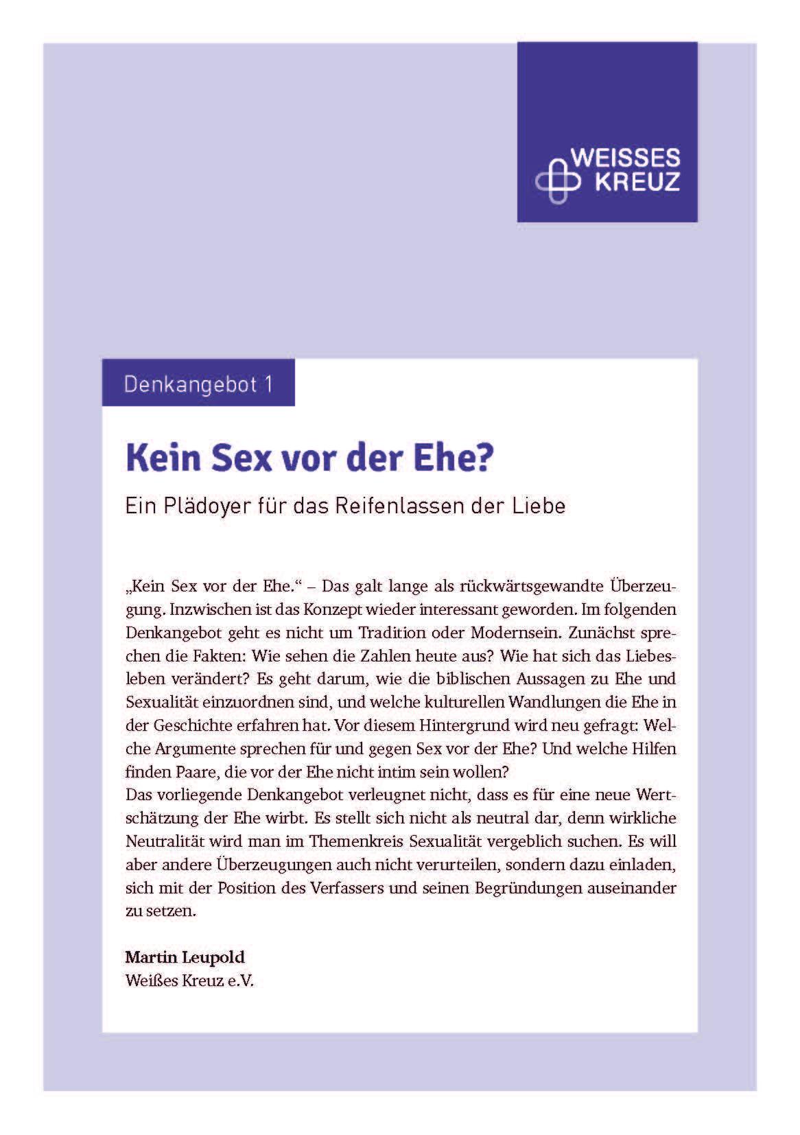 Denkangebot Nr. 1 - Kein Sex vor der Ehe?