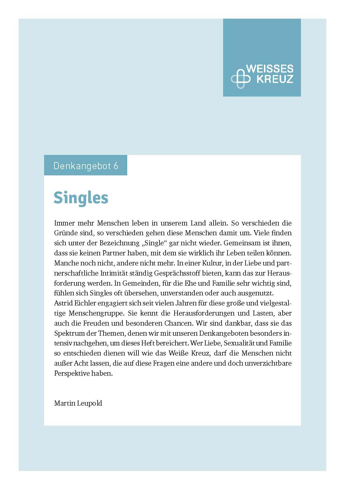 Denkangebot Nr. 6 - Singles