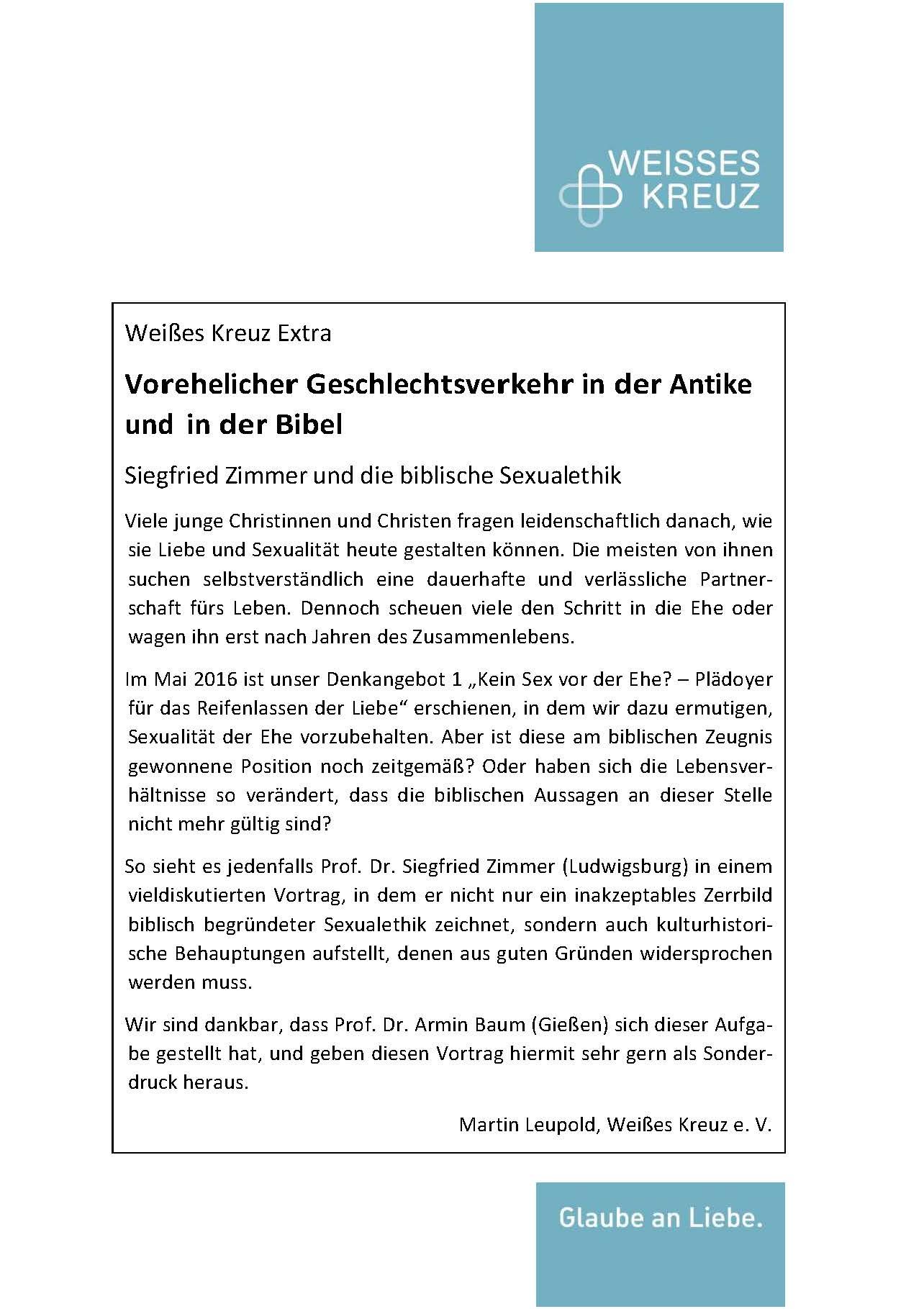 Armin Baum - Vorehelicher Geschlechtsverkehr in der Antike und in der Bibel